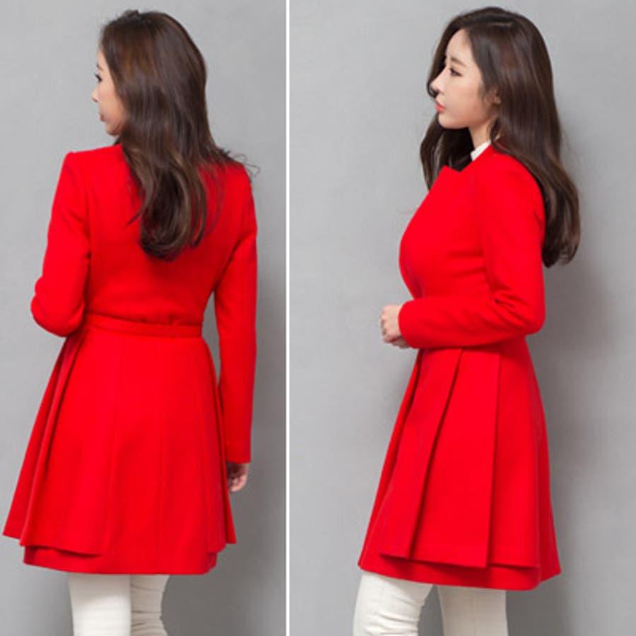 【jk17781】鮮やかなレッドカラーで豪華な印象♪スリムラインベルトジャケット(ファーマフラー&ベルトSET) 4