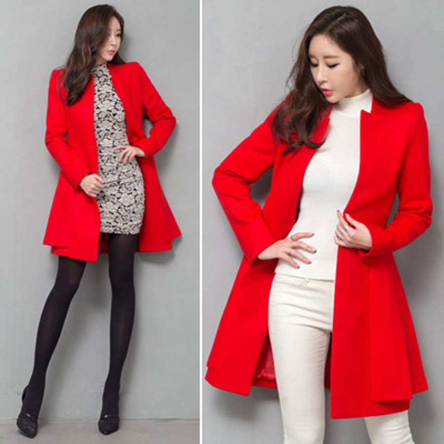 【jk17781】鮮やかなレッドカラーで豪華な印象♪スリムラインベルトジャケット(ファーマフラー&ベルトSET) 5
