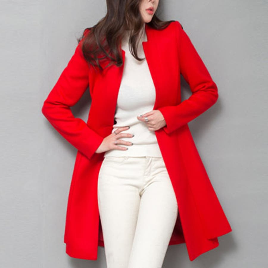 【jk17781】鮮やかなレッドカラーで豪華な印象♪スリムラインベルトジャケット(ファーマフラー&ベルトSET) 6