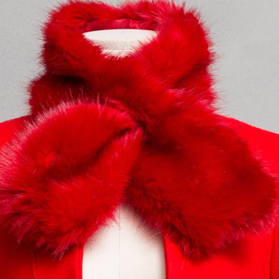 【jk17781】鮮やかなレッドカラーで豪華な印象♪スリムラインベルトジャケット(ファーマフラー&ベルトSET) 8