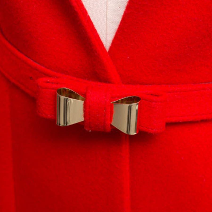 【jk17781】鮮やかなレッドカラーで豪華な印象♪スリムラインベルトジャケット(ファーマフラー&ベルトSET) 9
