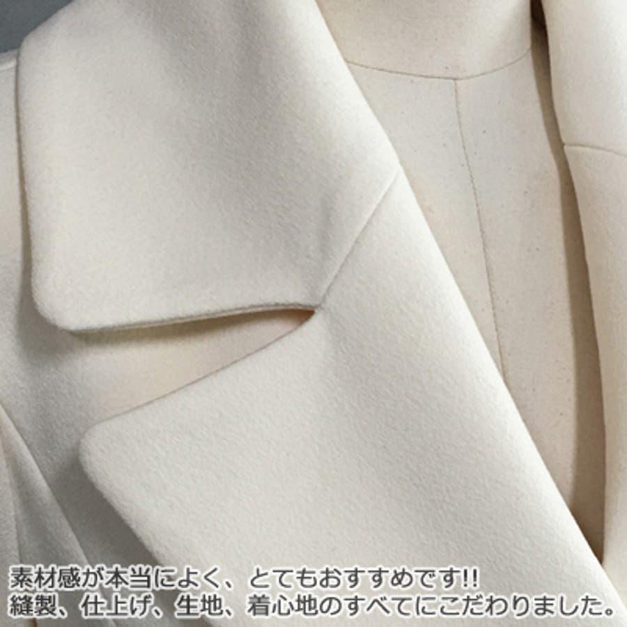 【オリジナル商品】【jk17866】ワンピースのような綺麗なAライン♪パールベルト付きシンプルAラインフレアコート(ベルトセット)「春先行」 9