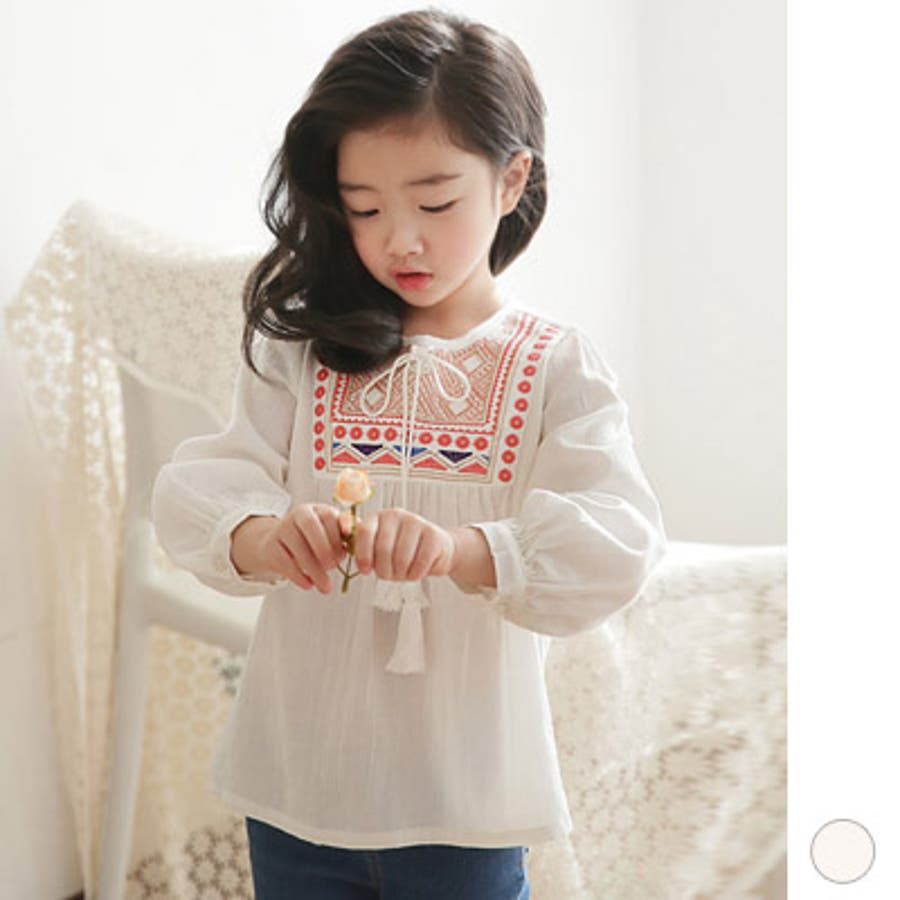 0d9d2389eb507 ts18140 韓国子供服 シャツ 長袖 ブラウス ボヘミアン 刺繍 タッセル 綿 ...