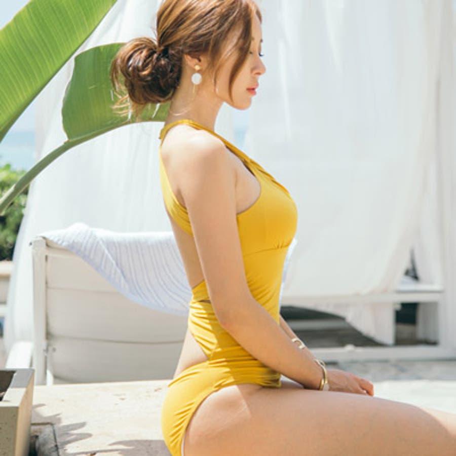【to18413】水着 レディース モノキニ ワンピース ホルターネック 胸元 セクシー マスタード イエロー 黄色肌見せノーワイヤー ユニーク フリーサイズ 海外 インポート 5
