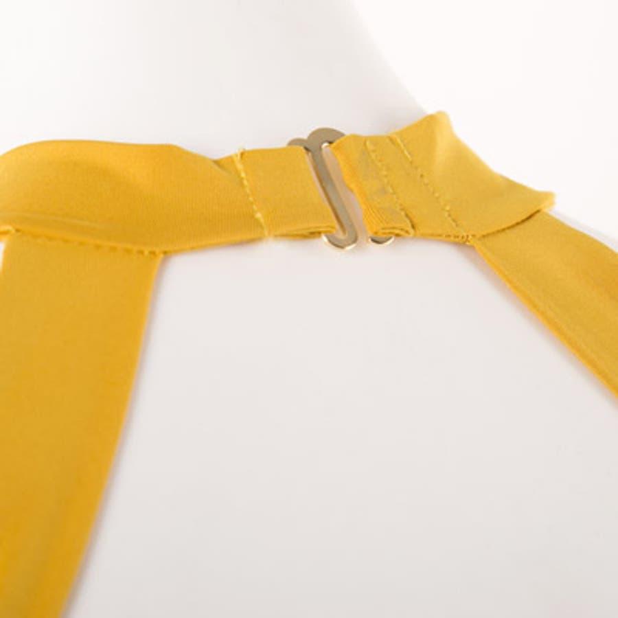 【to18413】水着 レディース モノキニ ワンピース ホルターネック 胸元 セクシー マスタード イエロー 黄色肌見せノーワイヤー ユニーク フリーサイズ 海外 インポート 8