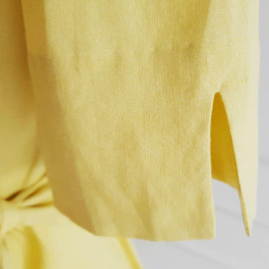 ワンピース レディース 半袖 五分袖 シャツワンピ スリット リネン 麻100% フロントボタン ウエストリボン ロング フレア フェミニン エレガント 春 夏 韓国 op21966 7