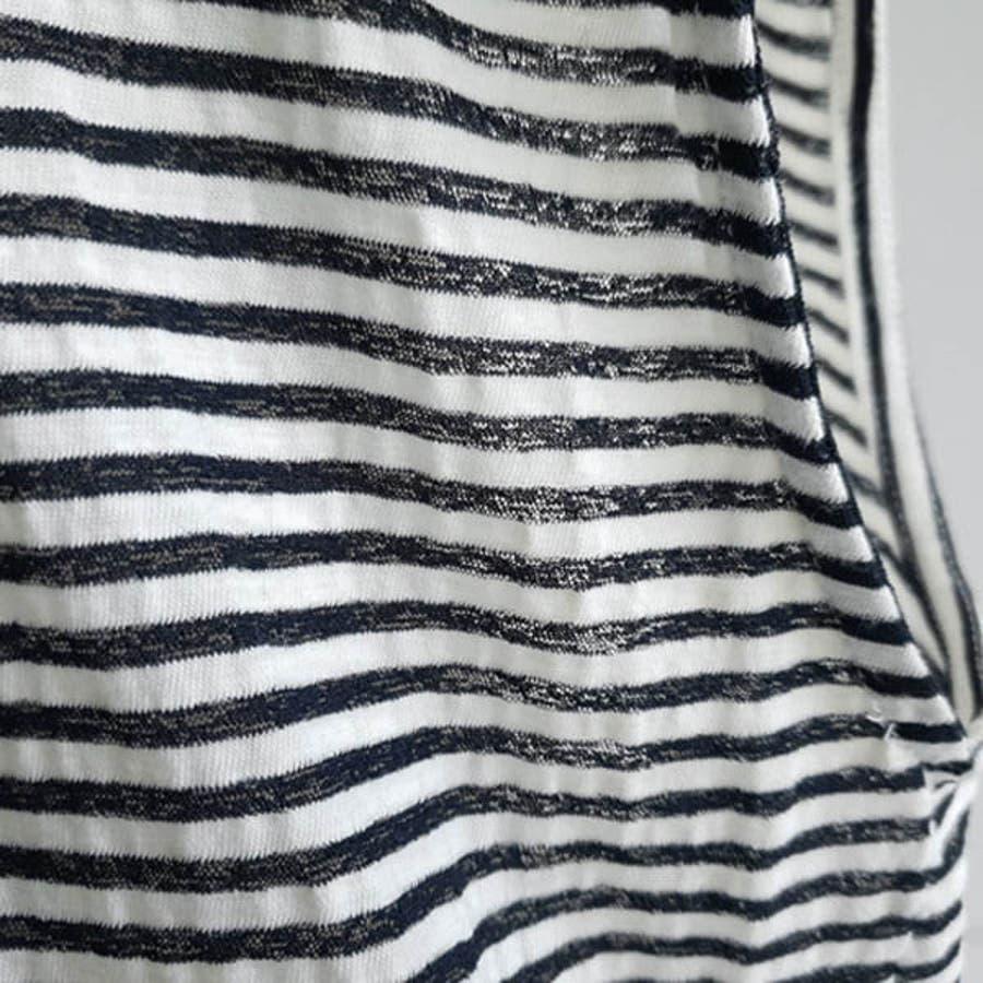 Tシャツ レディース トップス カットソー ノースリーブ フレンチスリーブ ボーダー 変形 ねじり ツイスト デイリー 春 夏 韓国  to22055 9