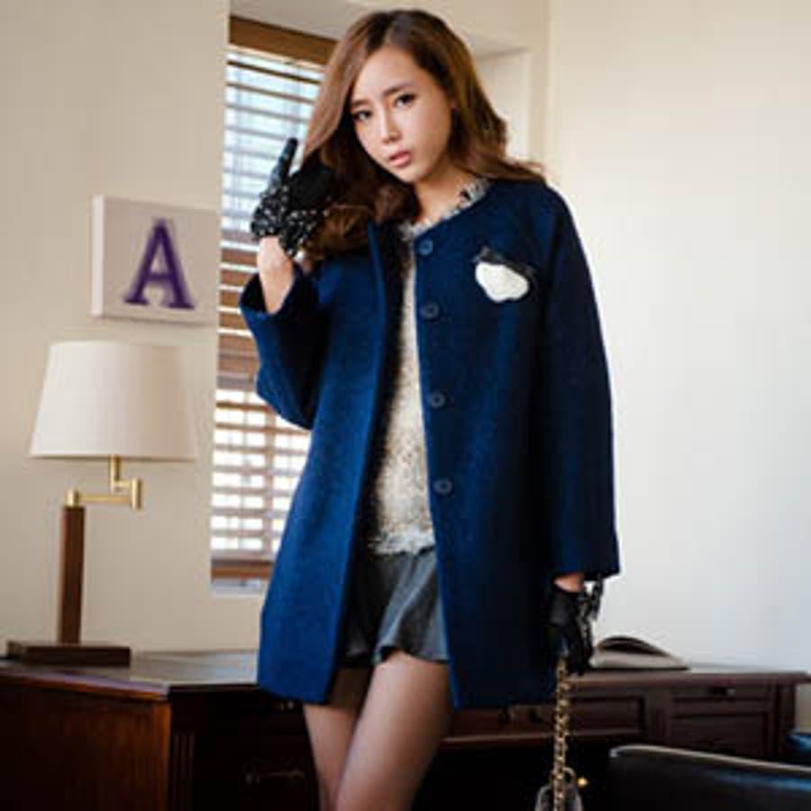 【jk7520】胸ポケットのリボンがアクセント♪今シーズン人気のオーバーサイズでルーズ感が可愛いコート 4