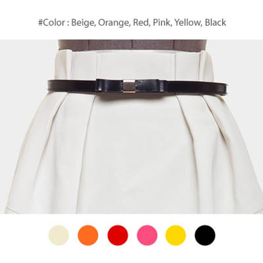 【bl8227】ワンピースやスカートのワンポイントとして使える細いデザインの革リボンベルト(6色) 1