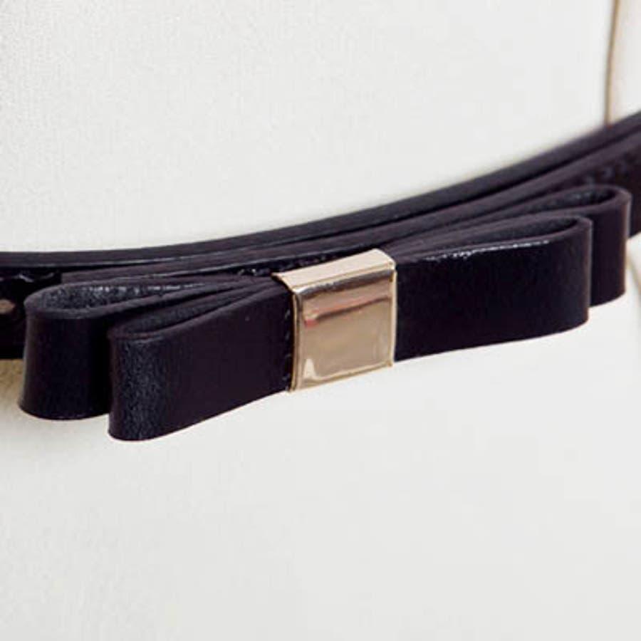 【bl8227】ワンピースやスカートのワンポイントとして使える細いデザインの革リボンベルト(6色) 6