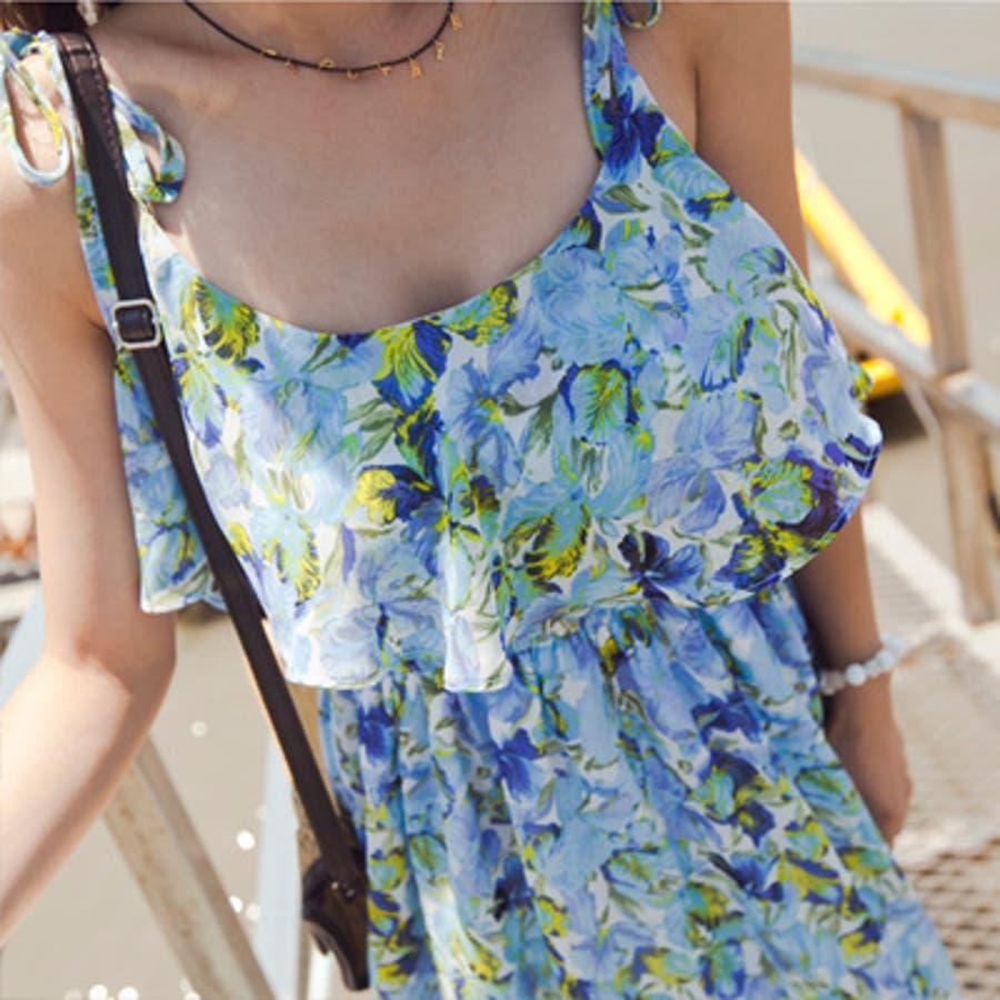 【op9250】エアリー感漂う上品なシフォンで大人っぽく着こなせるウエストバンディング胸元フリルポイント花柄シフォンマキシ丈ワンピース 3