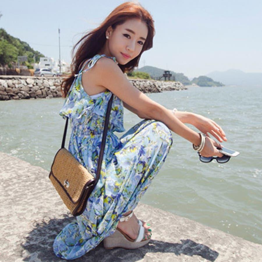 【op9250】エアリー感漂う上品なシフォンで大人っぽく着こなせるウエストバンディング胸元フリルポイント花柄シフォンマキシ丈ワンピース 4