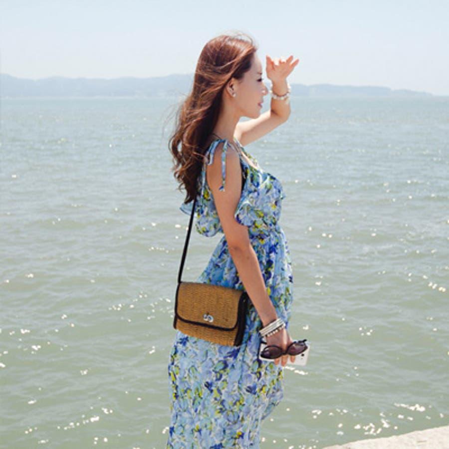 【op9250】エアリー感漂う上品なシフォンで大人っぽく着こなせるウエストバンディング胸元フリルポイント花柄シフォンマキシ丈ワンピース 5