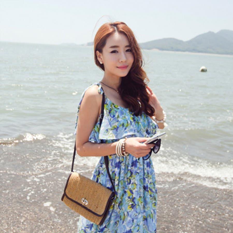 【op9250】エアリー感漂う上品なシフォンで大人っぽく着こなせるウエストバンディング胸元フリルポイント花柄シフォンマキシ丈ワンピース 6