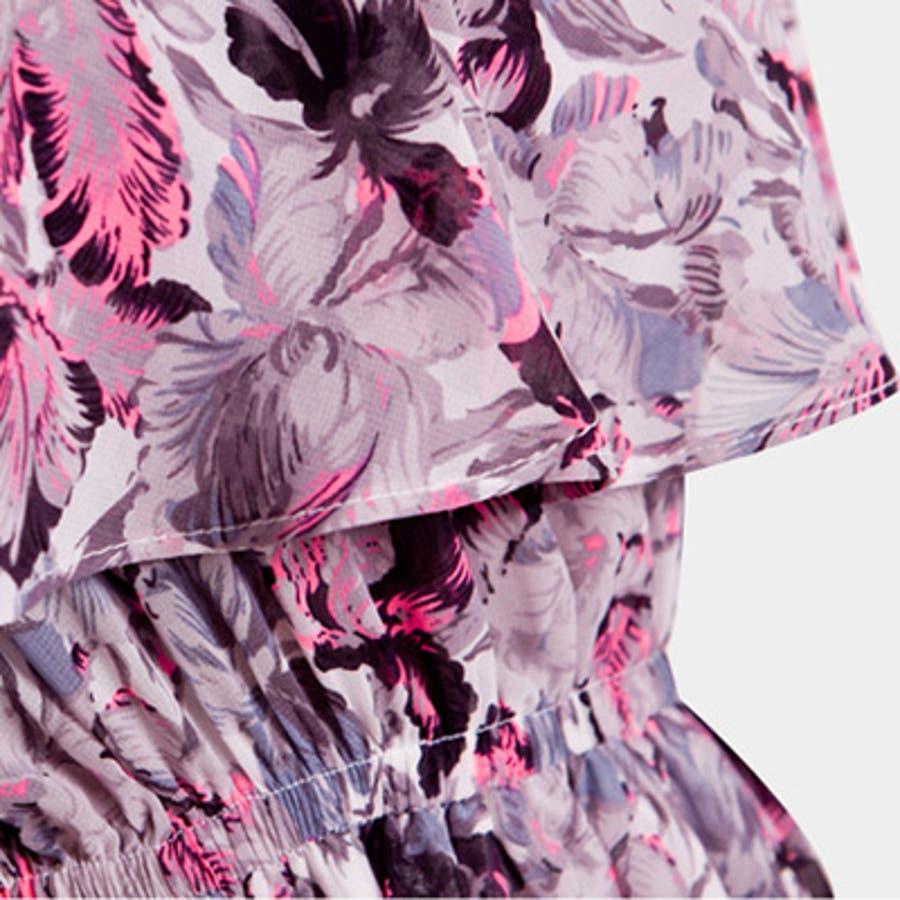 【op9250】エアリー感漂う上品なシフォンで大人っぽく着こなせるウエストバンディング胸元フリルポイント花柄シフォンマキシ丈ワンピース 9