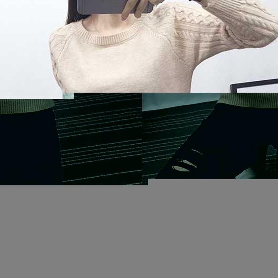 ニット セーター チュニック トップス ざっくりニット ケーブル ケーブルニット 編み ケーブルニット ゆったりドルマン長袖【ベーシック】 9