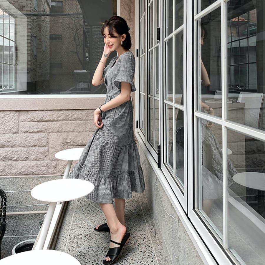 【MERONGSHOP メロンショップ】フロントクロスギンガムチェックロングワンピース P000CJBK 韓国 ファッション韓国ファッション レディース 8