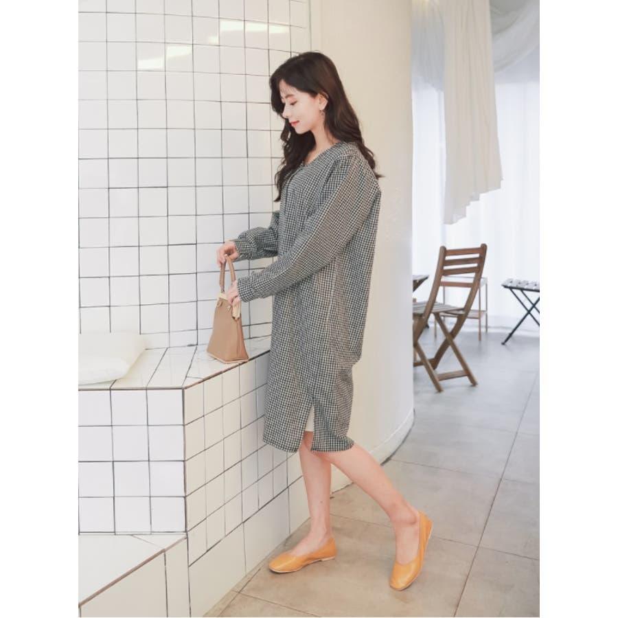 【授乳 ワンピース】授乳 ワンピース 長袖 チェック コットン ギンガムチェック柄授乳ワンピース/SDN81010 マタニティーママ妊婦 韓国 韓国ファッション 大きいサイズ 5