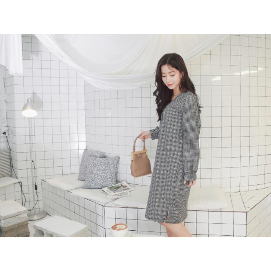 【授乳 ワンピース】授乳 ワンピース 長袖 チェック コットン ギンガムチェック柄授乳ワンピース/SDN81010 マタニティーママ妊婦 韓国 韓国ファッション 大きいサイズ 9