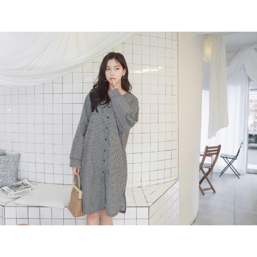 【授乳 ワンピース】授乳 ワンピース 長袖 チェック コットン ギンガムチェック柄授乳ワンピース/SDN81010 マタニティーママ妊婦 韓国 韓国ファッション 大きいサイズ 10