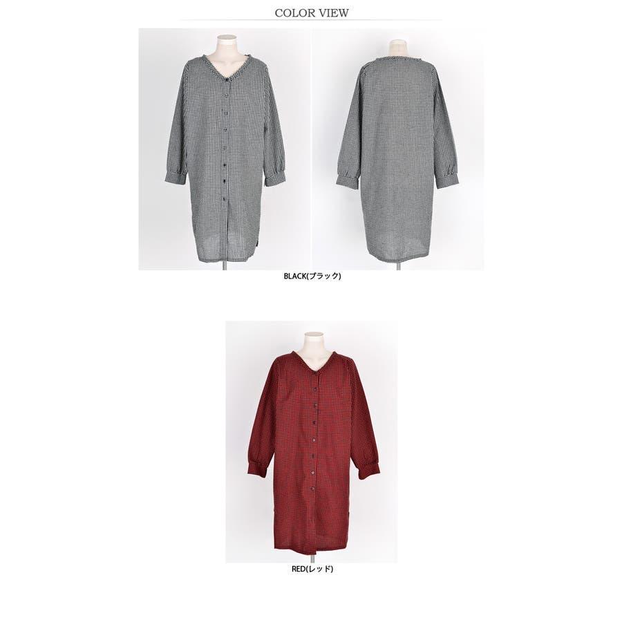 【授乳 ワンピース】授乳 ワンピース 長袖 チェック コットン ギンガムチェック柄授乳ワンピース/SDN81010 マタニティーママ妊婦 韓国 韓国ファッション 大きいサイズ 3
