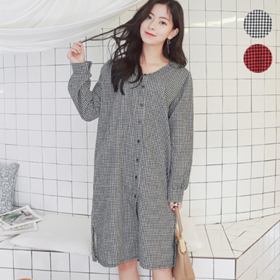 【授乳 ワンピース】授乳 ワンピース 長袖 チェック コットン ギンガムチェック柄授乳ワンピース/SDN81010 マタニティーママ妊婦 韓国 韓国ファッション 大きいサイズ 1
