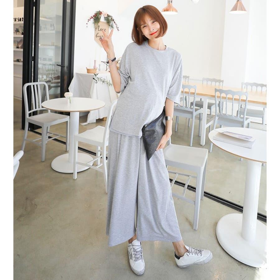 授乳 ルームウェア マタニティ 五分袖 ワイドパンツ セットアップ 半袖 授乳 兼 マタニティセットアップ/SPN71009マタニティー ママ 妊婦 韓国 韓国ファッション 大きいサイズ 5