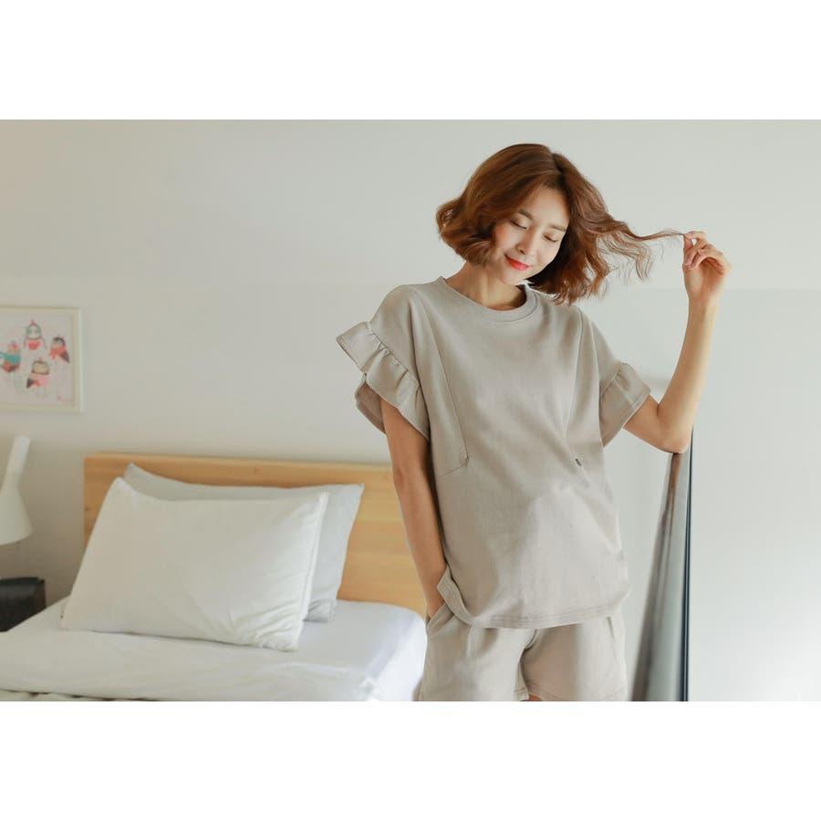 【授乳服 兼 マタニティウェア】授乳 ルームウェア 半袖 半ズボン ショートパンツ セットアップ マタニティ授乳兼マタニティルームウェア/SPN82001 マタニティー ママ 妊婦 韓国 韓国ファッション 大きいサイズ 7