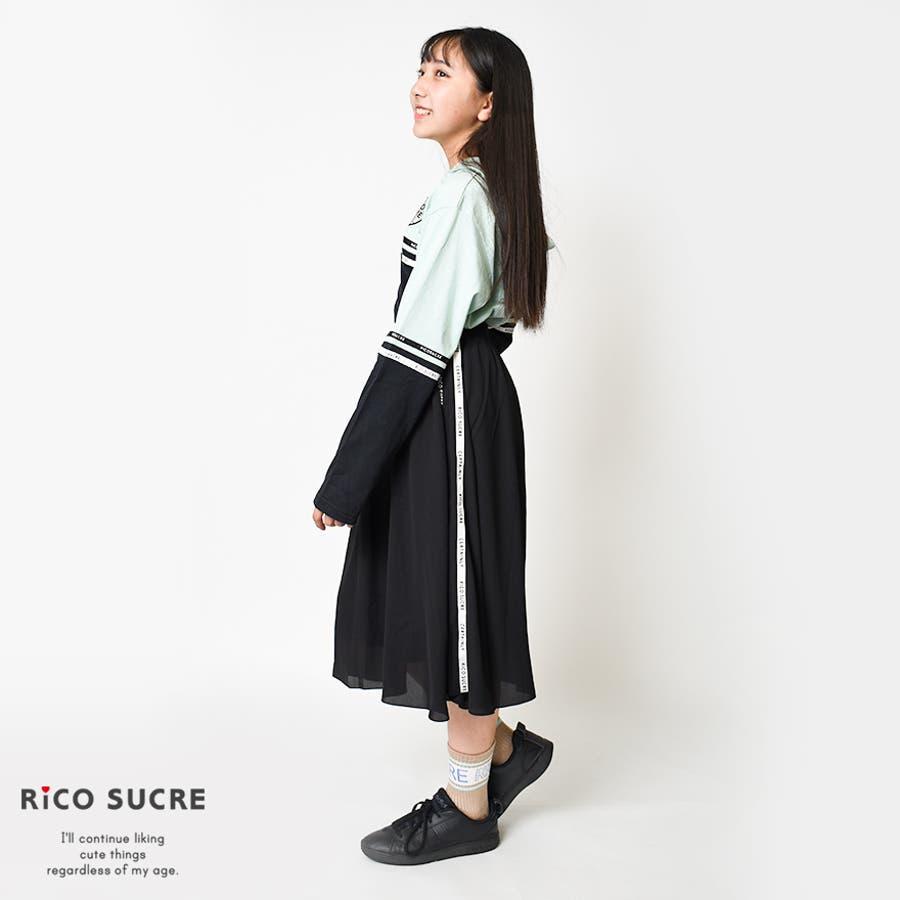 サイドラインシフォンスカート 子供服 女の子 小学生 中学生 ファッション ガールズ キッズ ジュニア 韓国子供服 大人っぽい ダンス130cm 140cm 150cm 160cm 165cm 9