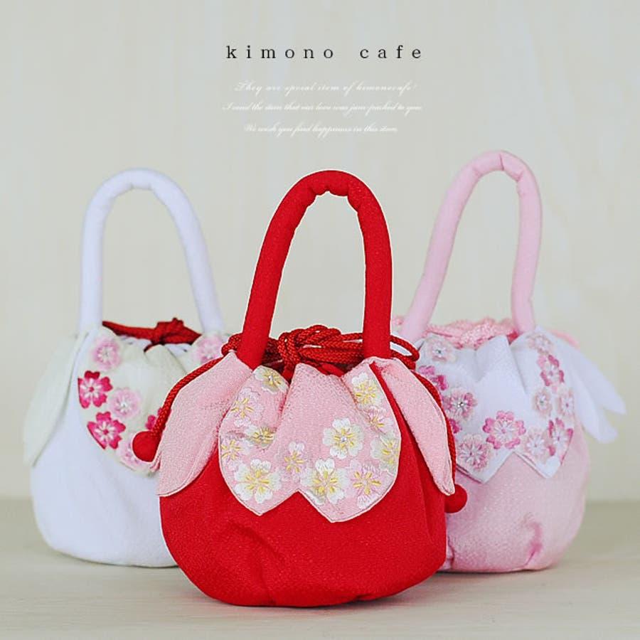 【七五三】【巾着】持ち手付き スワロ が光る 桜刺繍の 花びら 巾着