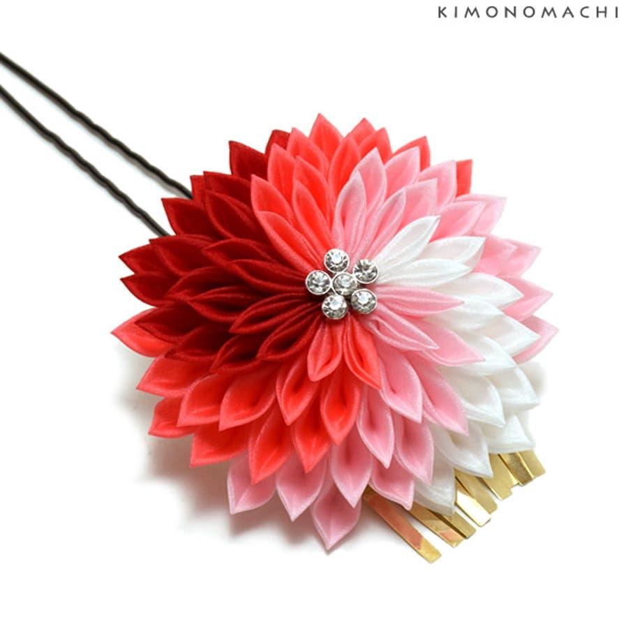 髪飾り つまみ細工 振袖 髪飾り「ピンク×赤色つまみのお花」 剣