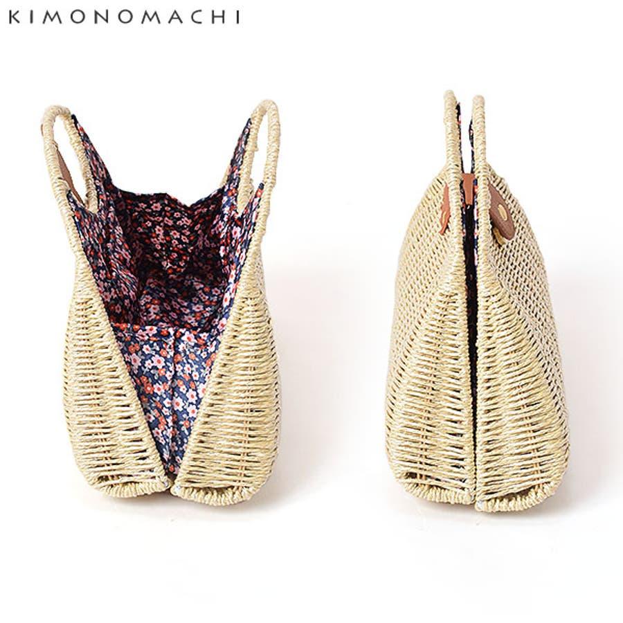 異素材MIX バッグ単品「水玉、蝶々、小花」編み籠バッグ 籐バッグ 浴衣バッグ 5