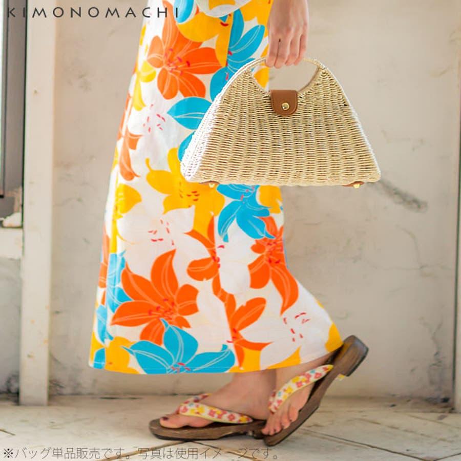 異素材MIX バッグ単品「水玉、蝶々、小花」編み籠バッグ 籐バッグ 浴衣バッグ 6