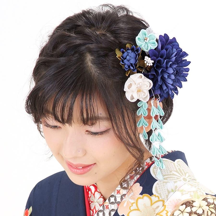 振袖 髪飾り2点セット「青色のお花、下がり飾り」つまみ細工髪飾り 髪飾りセット お花髪飾り 成人式の振袖に、卒業式の袴にも 5