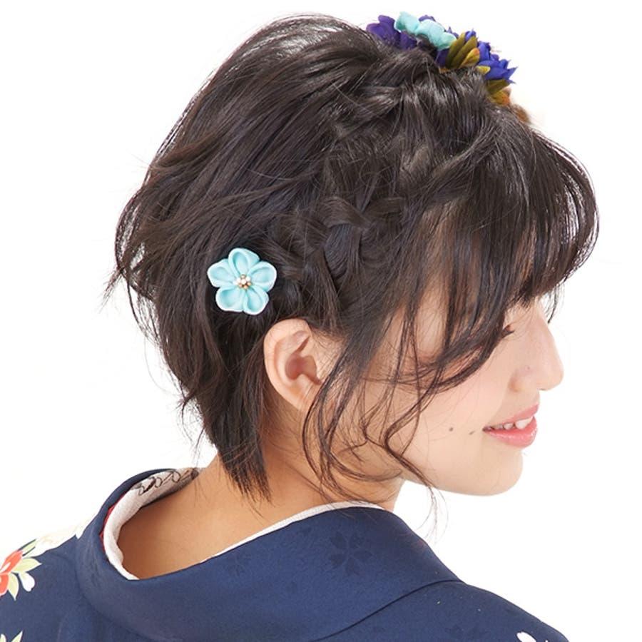振袖 髪飾り2点セット「青色のお花、下がり飾り」つまみ細工髪飾り 髪飾りセット お花髪飾り 成人式の振袖に、卒業式の袴にも 6