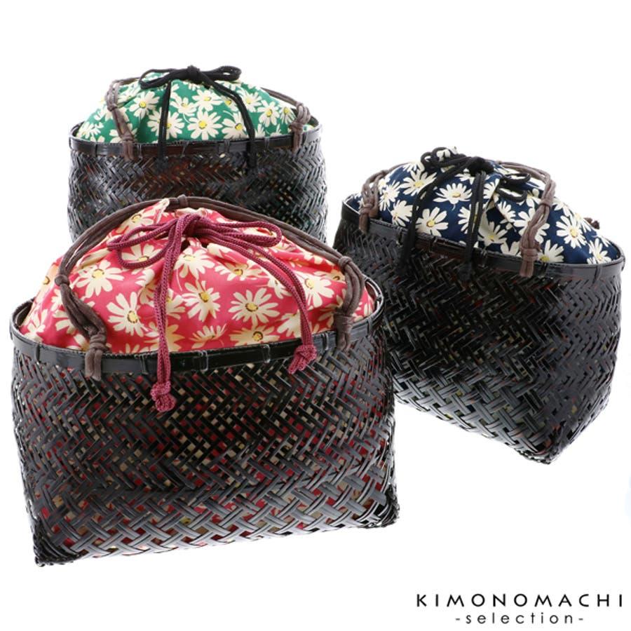 浴衣 かごバッグ かご巾着 浴衣バッグ「かご巾着 花 ネイビー、グリーン、ピンク」全3色 編み籠巾着単品 1