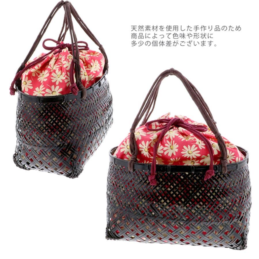 浴衣 かごバッグ かご巾着 浴衣バッグ「かご巾着 花 ネイビー、グリーン、ピンク」全3色 編み籠巾着単品 2