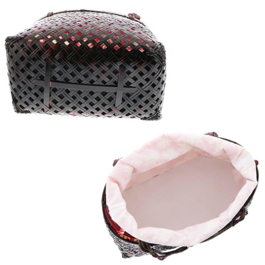 浴衣 かごバッグ かご巾着 浴衣バッグ「かご巾着 花 ネイビー、グリーン、ピンク」全3色 編み籠巾着単品 3