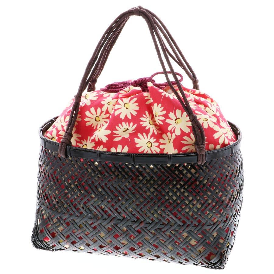 浴衣 かごバッグ かご巾着 浴衣バッグ「かご巾着 花 ネイビー、グリーン、ピンク」全3色 編み籠巾着単品 87