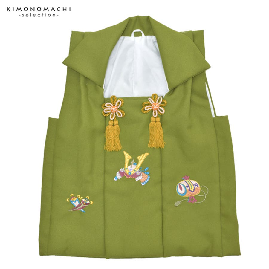 21b2d202f7eef 男児 被布コート単品「松葉色 兜、小槌、丁子の刺繍」七五三 お被布 ...