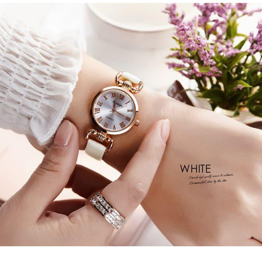 腕時計《シンプルデザインエレガントウォッチ 全4色》 レディース 雑貨 小物 アクセサリー 腕時計 華奢 細ベルト 合皮フェイクレザーシンプル エレガント 上品 大人 可愛い フェミニン エレガント 二次会 結婚式 パーティー きれいめ アナログ 3