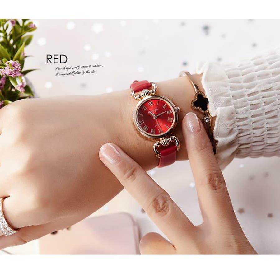 腕時計《シンプルデザインエレガントウォッチ 全4色》 レディース 雑貨 小物 アクセサリー 腕時計 華奢 細ベルト 合皮フェイクレザーシンプル エレガント 上品 大人 可愛い フェミニン エレガント 二次会 結婚式 パーティー きれいめ アナログ 7