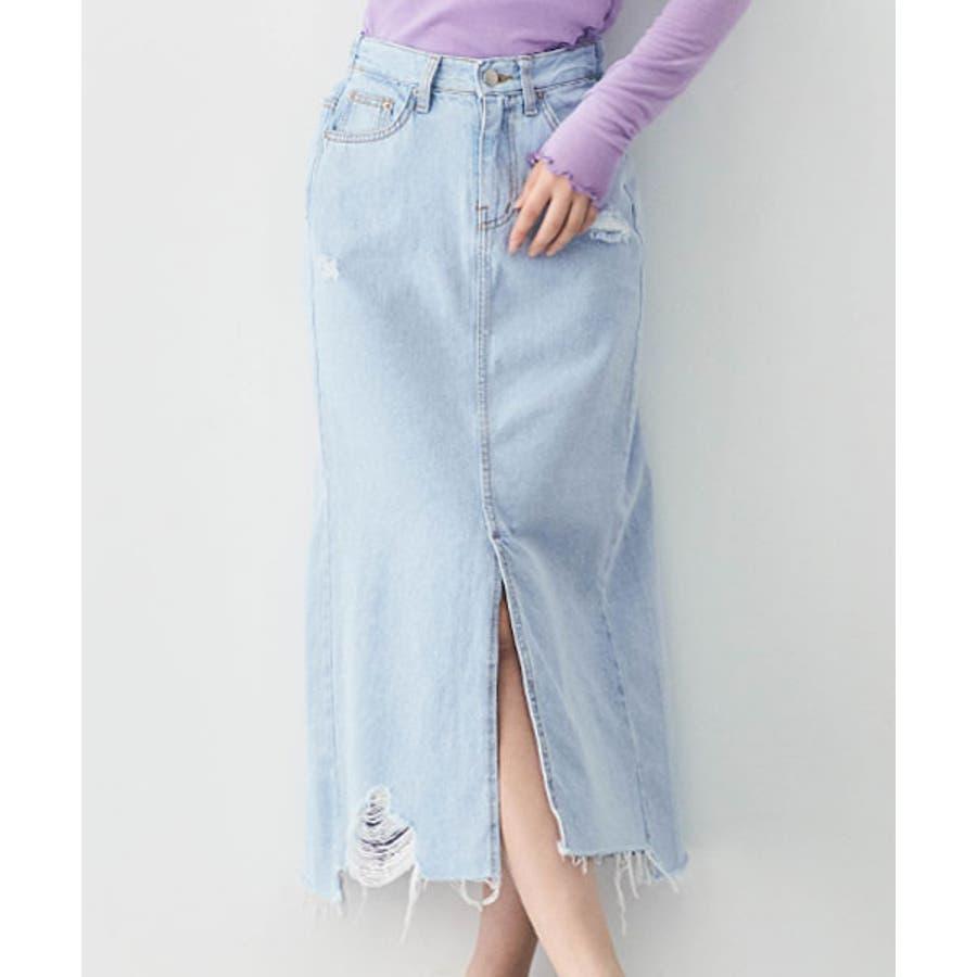 スカート《スリットデザインダメージデニムロングスカート 2サイズ》 レディース ボトムス Aラインスカートナロースカートデニムスカート ダメージデニム カットオフ 切りっぱなし ブルー ロング丈 ミモレ丈 スリット 大人カジュアル おしゃれS M 59