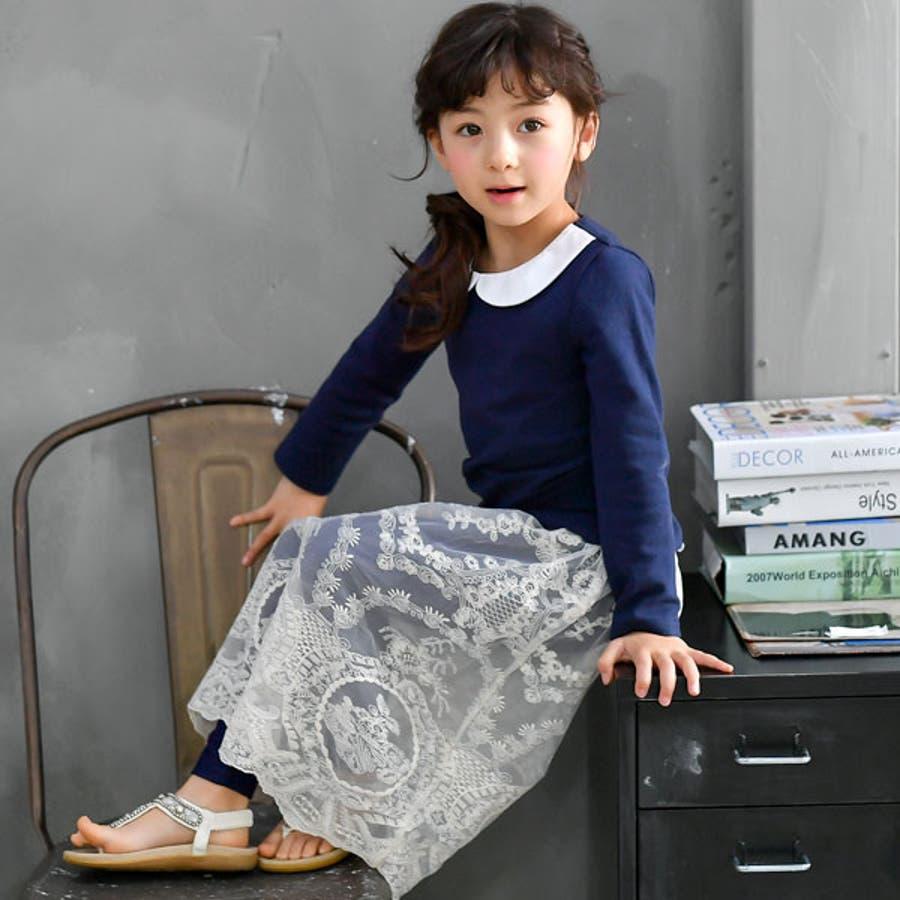 子供服Bee◇デニム風レギパン付きレーススカート◇ 5