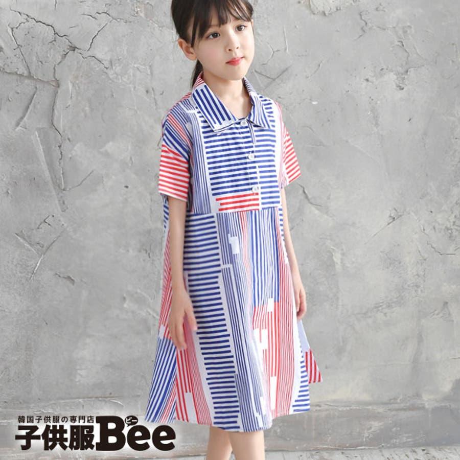 2f651f241ea35 韓国子供服◇kyscle-s 半袖ワンピース◇ランダムストライプ柄 襟付き ...