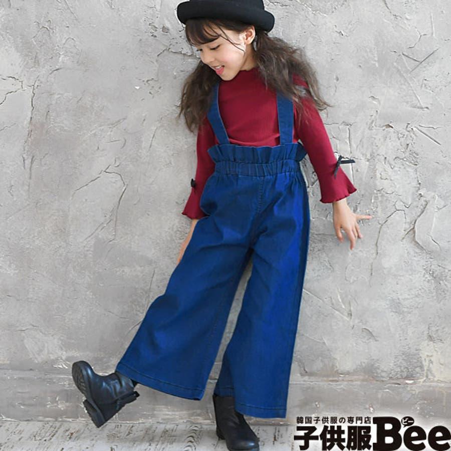 83052a045fbb7 韓国子供服◇デニムサロペット◇ハイウエスト オーバーオール パンツ ...