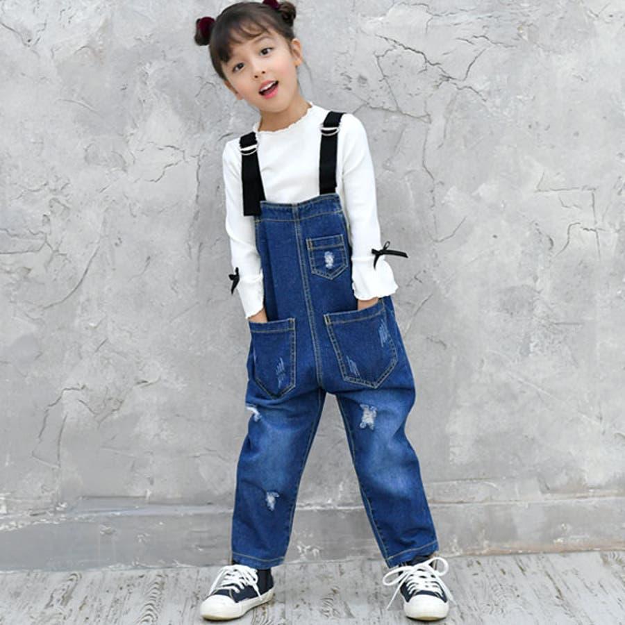 690c505e007b5 韓国子供服◇デニムオーバーオール◇ポケット付き サロペット パンツ ...
