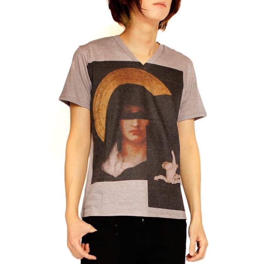 活躍してくれる一着 メンズファッション通販AS SUPER SONIC アズスーパーソニックマリアプリント Vネック 半袖Tシャツ メンズ ピンクグレー VネックTシャツTシャツ 半袖 夏 プリントTシャツ プリント 意図