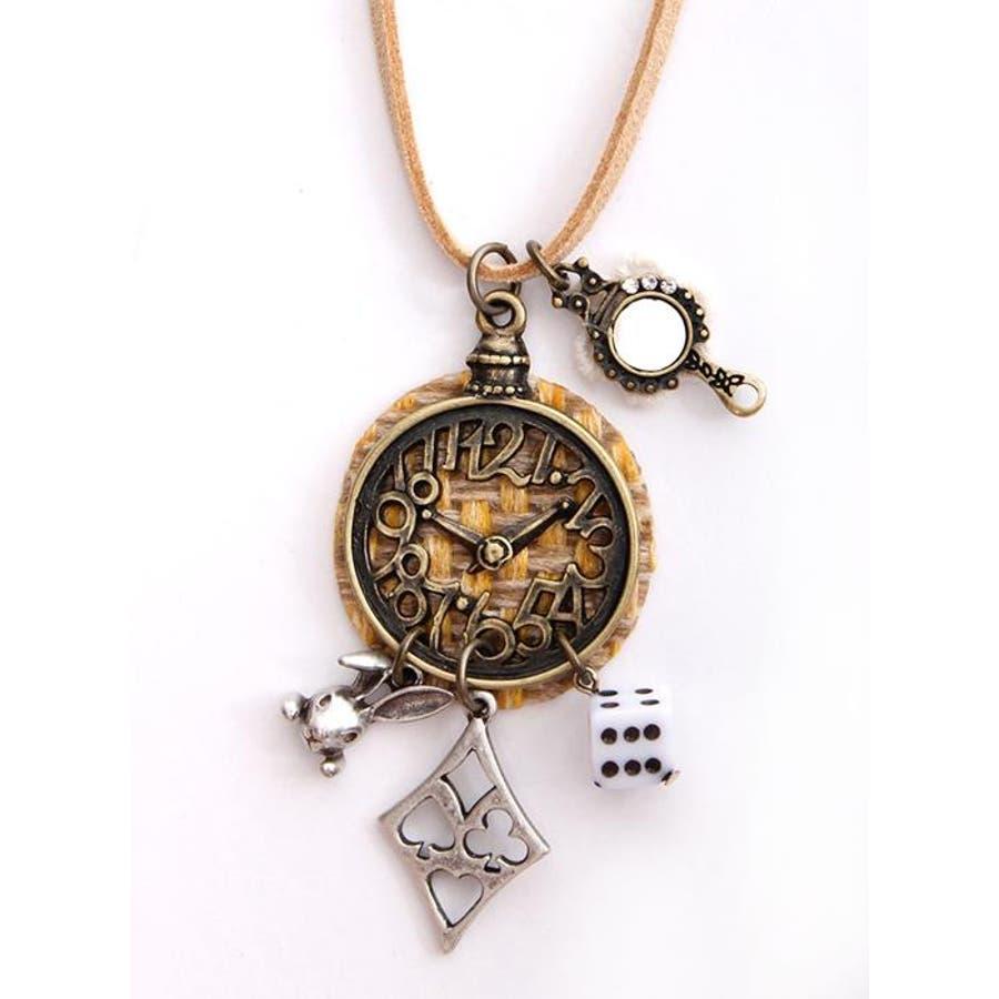 メタル 時計 モチーフ デザイン ネックレス ペンダント メンズ レディース ユニセックス Fサイズ ゴールド アクセサリー チェーンアンティーク