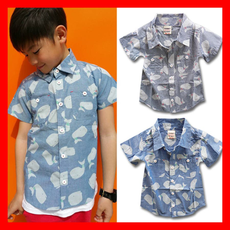 3fdd9a0bed49b 韓国子供服 男の子 女の子 シャツ 総柄くじらキッズ ジュニア 半袖コットンボタンシャツ